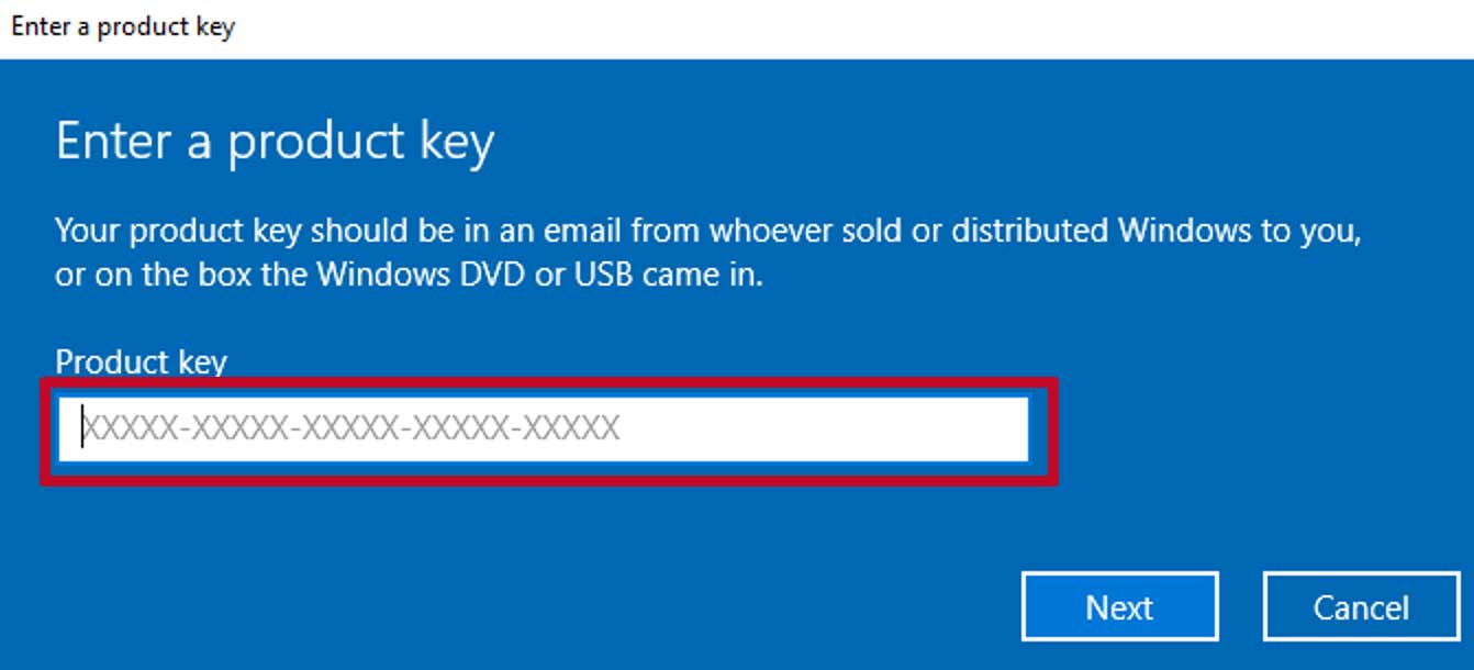 window to enter product key in Windows 10