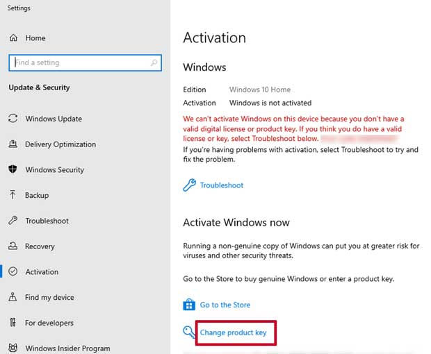 windows 10 activation settings window