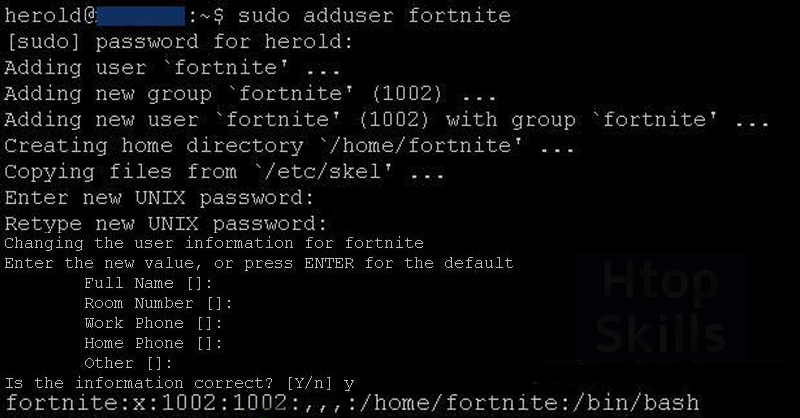 terminal of linux ubuntu with commands and steps to create a new user