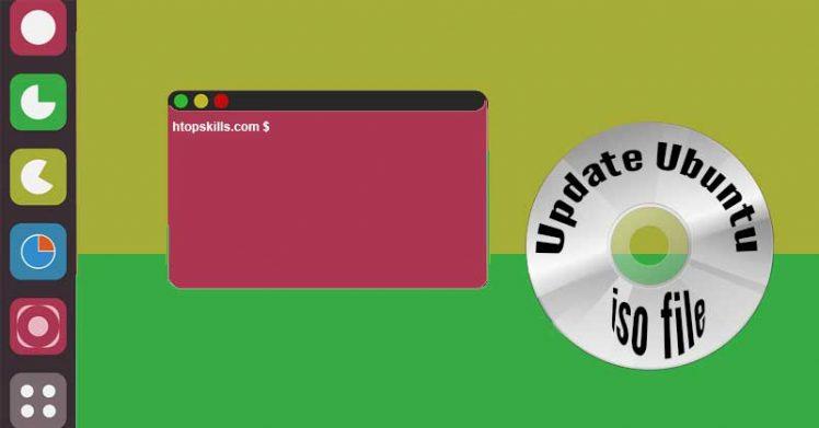 The image contains the Ubuntu desktop with an open terminal window and an Ubuntu Linux CD disc.
