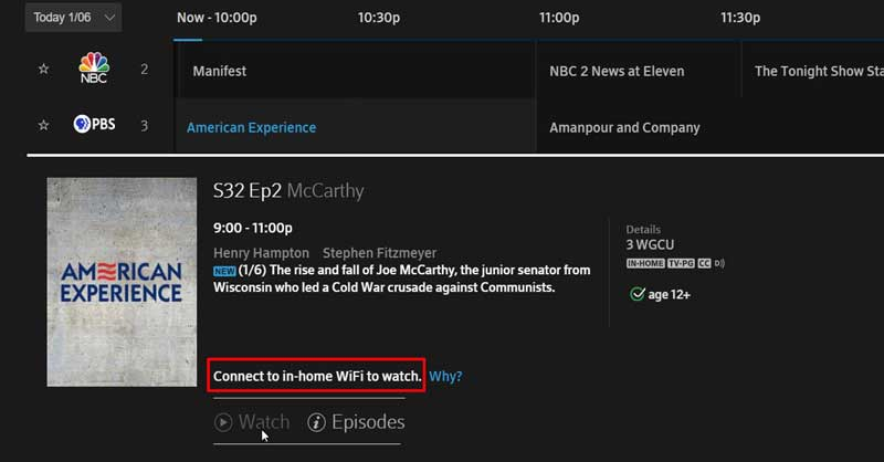 Xfinity connect to in home wifi to watch