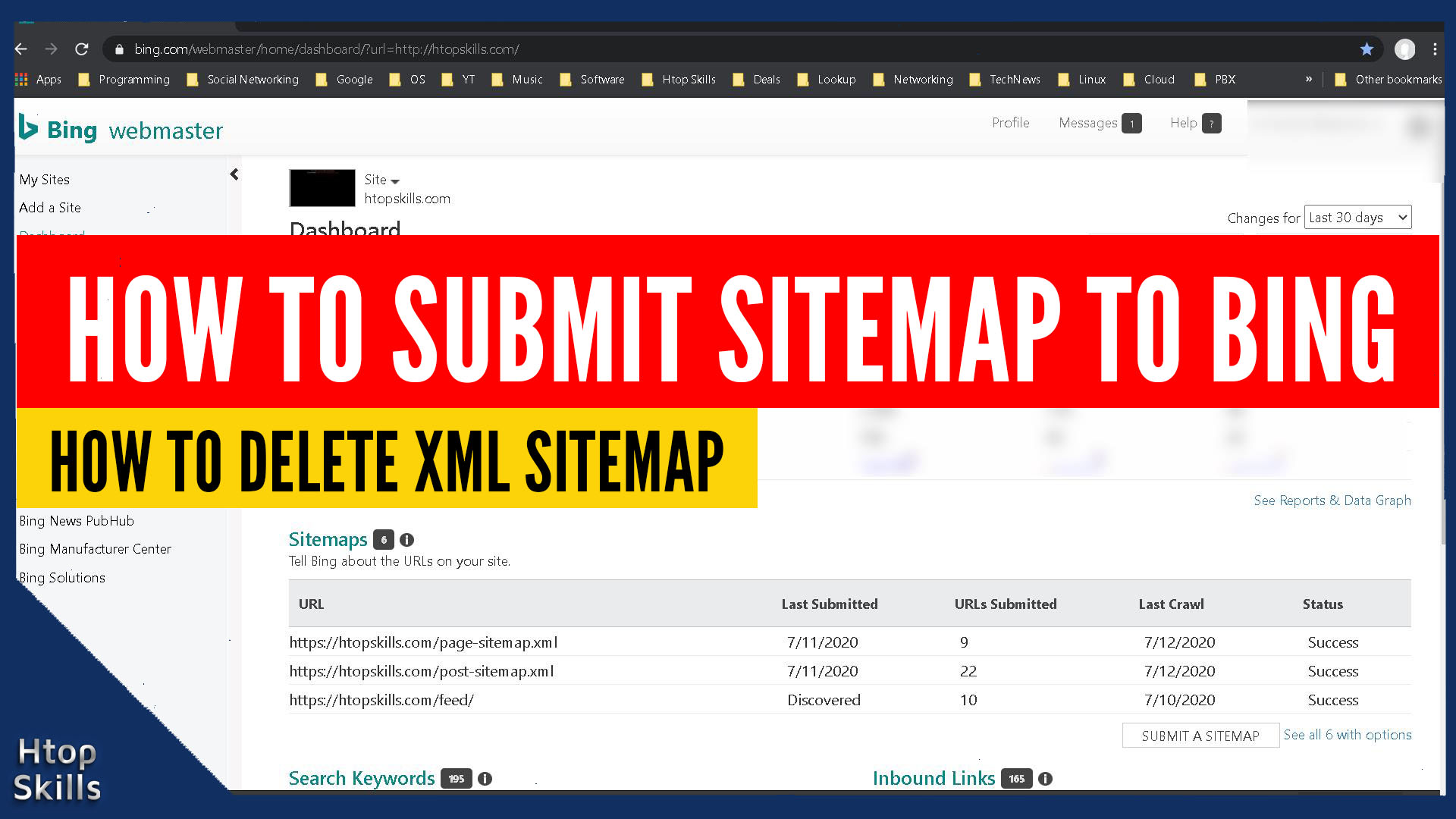 Submit and Delete Sitemap on Bing Webmaster Tools
