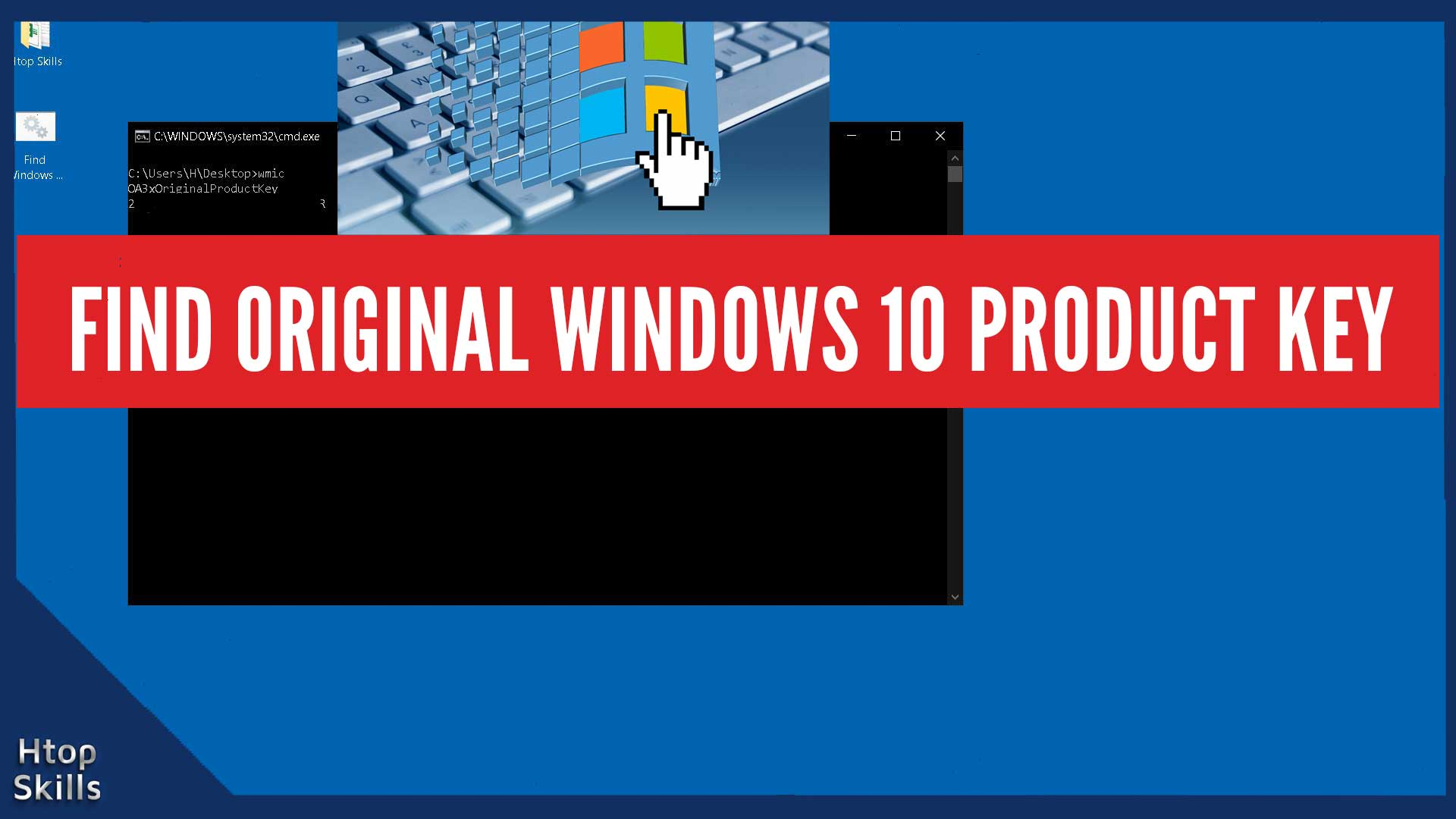 Thumbnail for the article How to find the original Windows 10 product key contains the Windows 10 desktop, a command prompt window, a keyboard, and a Microsoft Windows logo.