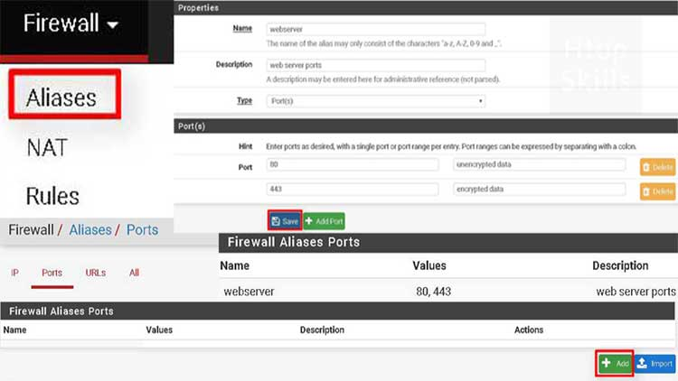 How to create port aliases in pfsense
