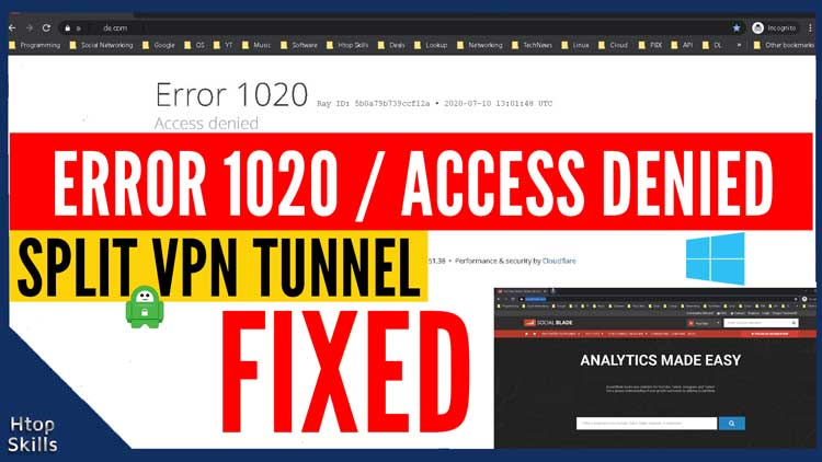 Error 1020 Access Denied with Split PIA VPN Tunnel
