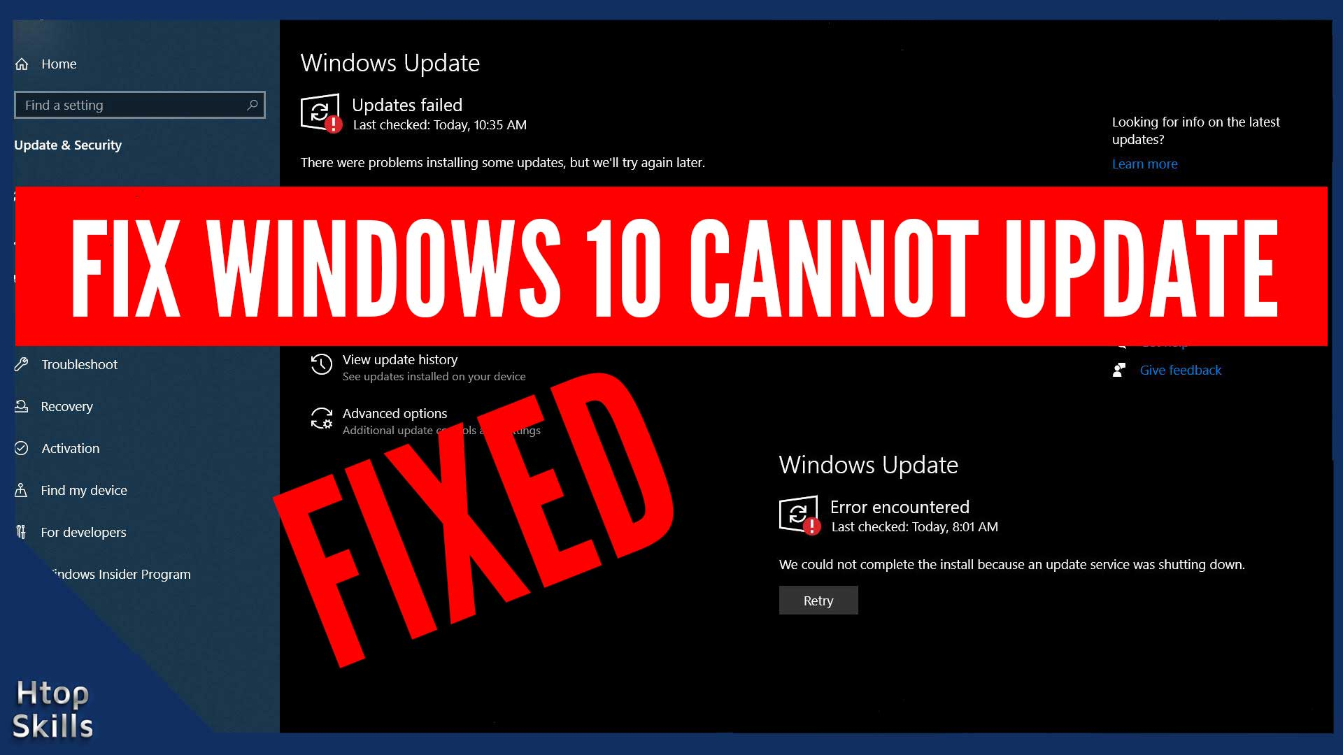 How to fix Windows 10 Cannot Update