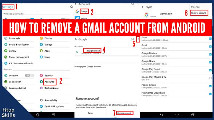 How to remove a Gmail account from Android