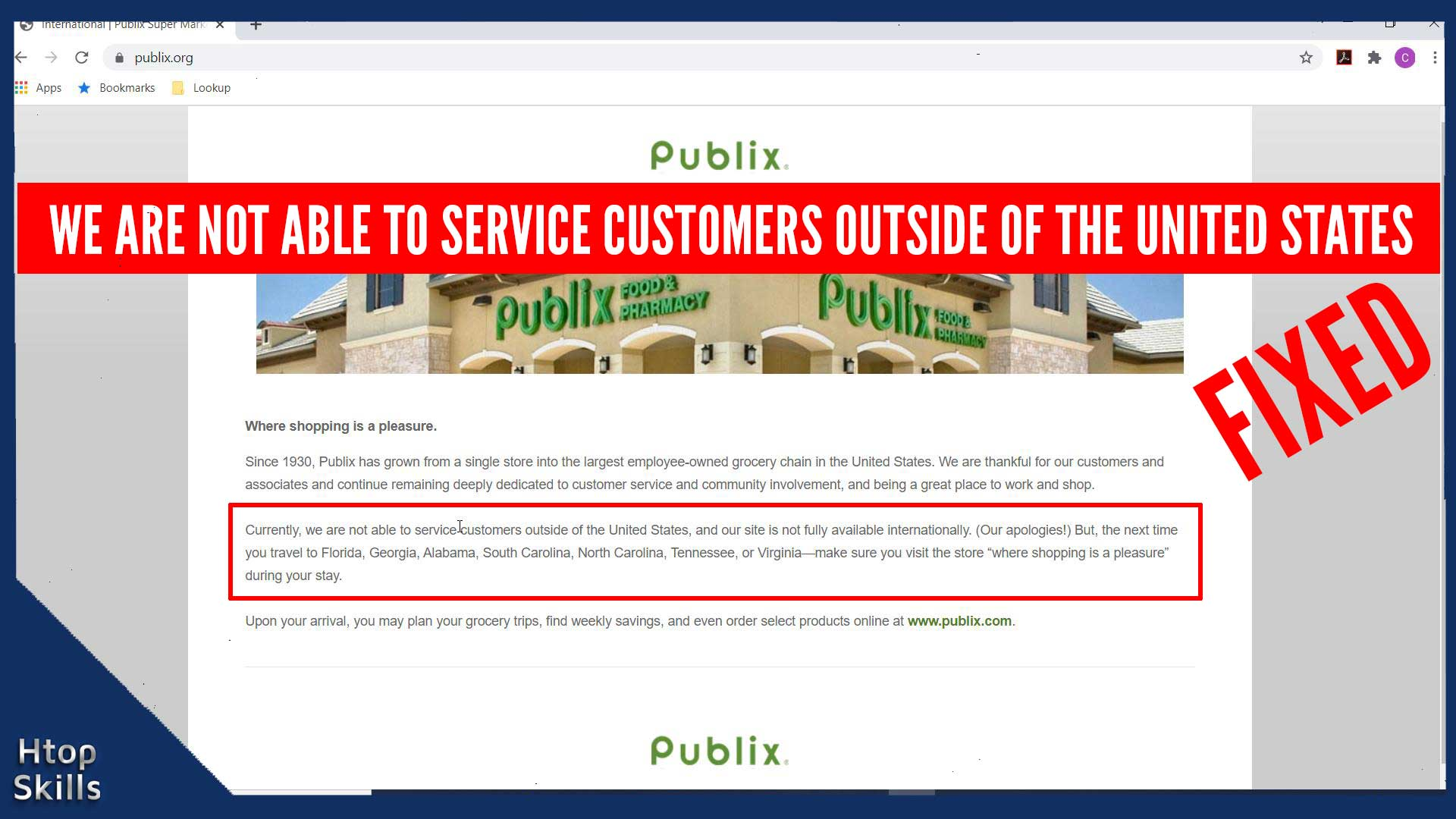 We are not able to service customers outside of the United States