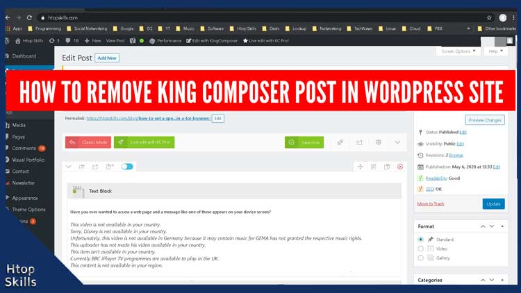 How to remove kingComposer posts in WordPress Website