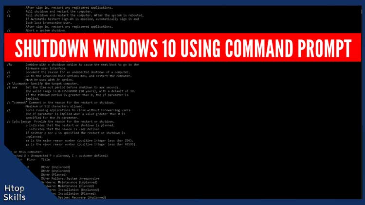 How to shutdown Windows 10 using command prompt