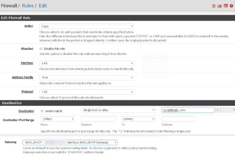 pfsense setup rule ip alias