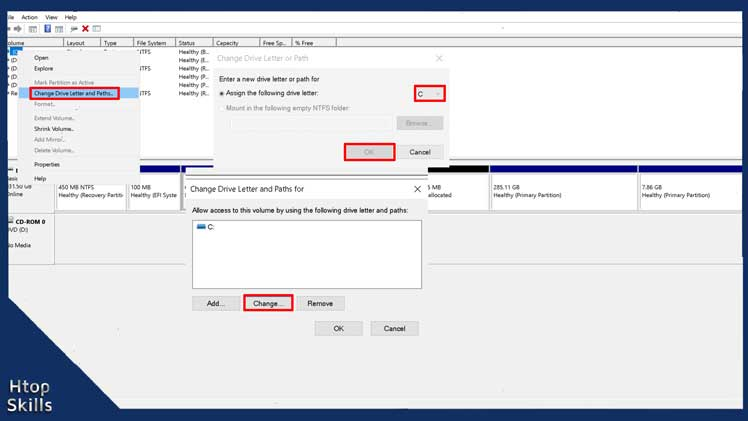Image contains steps to change drive letter in Windows 10