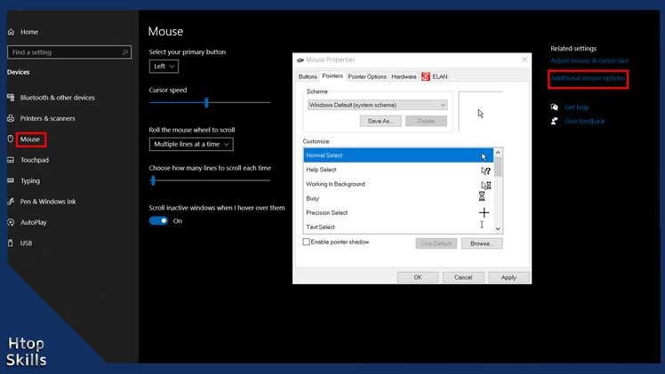 Image contains steps to change your cursor on Windows 10