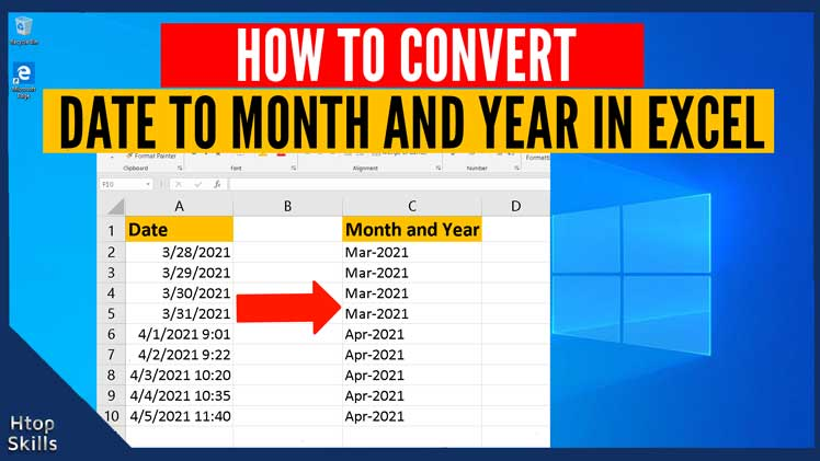 How to convert date to month and year in Excel