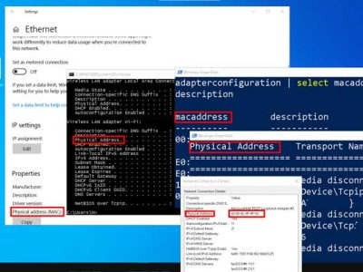 The image contains Windows 10 desktop, Settings window, Windows PowerShell window, Command prompt window, and Network connection details window.