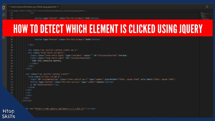 Image contains code to detect which element is clicked using jQuery